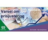 Informasjonsbanner om prisjustering pga elending valutakurs