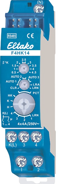 F4HK14-230. Varme/kjøle aktuator, 4 NO, 4A/250V, 4 soner, 1 modul.
