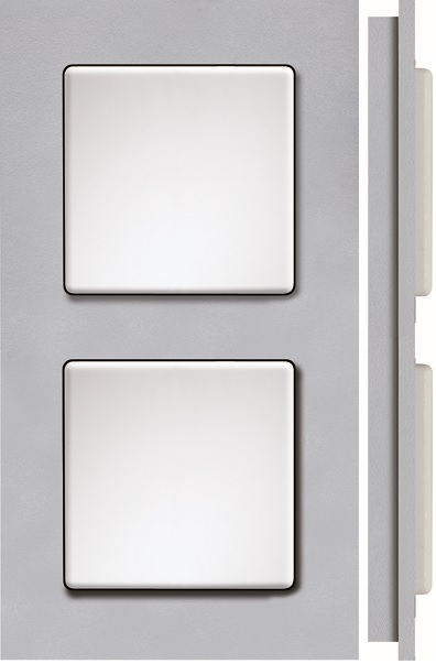 Qr2K-as. Dobbelt ramme i plast, aluminium/sølv