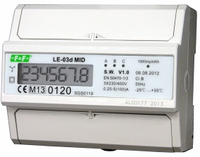 LE-03D. kWh måler 3P+N fas. TN nett. Inntil 100A digital