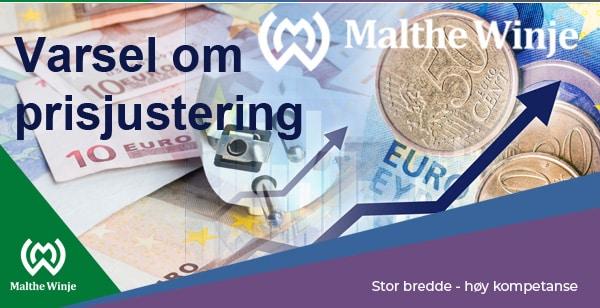 varsel om prisjustering fra 1 mai 2020
